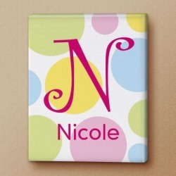 Dotty Initial Personalized Canvas Print