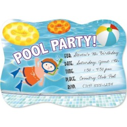 Pool Party Die Cut Fill-in Invitations found on Bargain Bro India from colorfulimages.com for $4.99
