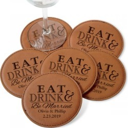Custom Eat, Drink and Be Married Coaster Set found on Bargain Bro India from colorfulimages.com for $24.99