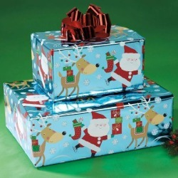 Holiday Foil Rolled Gift Wrap
