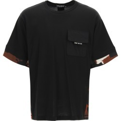 DOLCE & GABBANA T-SHIRT WITH CAMOUFLAGE INSERTS L Black, Brown Cotton found on Bargain Bro UK from Coltorti Boutique EU