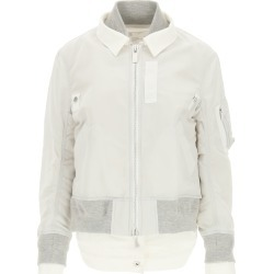 SACAI NYLON AND DENIM BOMBER JACKET 2 Grey, White Cotton found on MODAPINS from Coltorti Boutique EU for USD $827.55