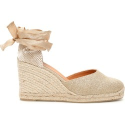 CASTAÑER CARINA LUREX WEDGE ESPADRILLES 36 Beige, Gold Linen found on MODAPINS from Coltorti Boutique US for USD $127.00