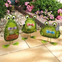 Set of 3 Metal Garden Frogs