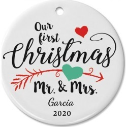 First Christmas Wedding Personalized Ceramic Christmas Ornament