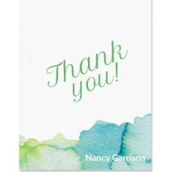 Personalized Watercolor Thank You Cards - Heavy Stock