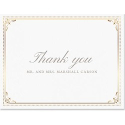 Personalized Gold Frame Thank You Cards - Light Stock