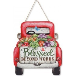 Red Truck Hanging Wall Plaque