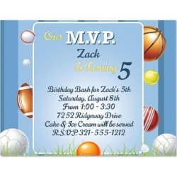 Game Time Kids Birthday Party Invitations