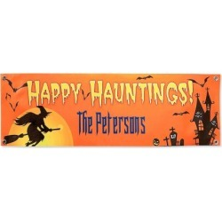 Happy Hauntings Outdoor Canvas Banner