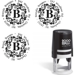 Floral Monogram Round Self-Inking Address Stamp found on Bargain Bro Philippines from currentcatalog.com for $22.99