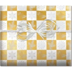 Shimmer Snowflake Pine Foil Rolled Gift Wrap