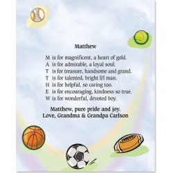 Sports Balls Name Poem Print found on Bargain Bro from currentcatalog.com for USD $7.59