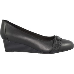 Clarks Women's Mallory Strap Wedge Pump Shoes in Black, Size 7.5 Medium
