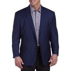 Big & Tall TailoRED Shadow Check Sport Coat - Blue - Size 54 L