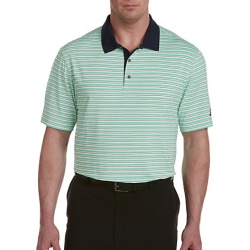 Big & Tall adidas Golf 3-Color Stripe Ultimate Polo - White Green Stripe