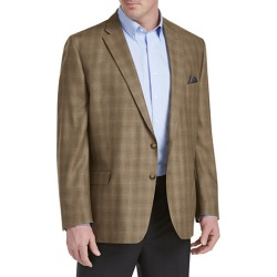 Big & Tall Ralph Lauren Comfort Flex Plaid Sport Coat - Brown - Size 52 L