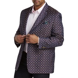 Big & Tall Tallia Medallion Pattern Sport Coat - Pink - Size 48 L