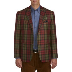 Big & Tall Oak Hill Exploded Plaid Sport Coat - Green - Size 3X