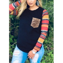 Striped Splicing Sequined Pocket T-Shirt Tee - Navy Blue