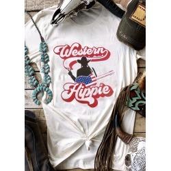 Western Hippie Guitar T-Shirt Tee - White