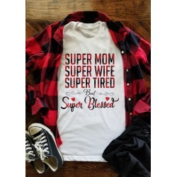Plaid Splicing Super Mom Super Wife Super Tired T-Shirt Tee - White