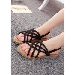 Hemp Rope Cross-Strap Sandals