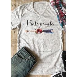 I Hate People T-Shirt Tee - Light Grey
