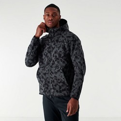 Nike Men's Sportswear Allover Print Tech Fleece Full-Zip Hoodie in Black Size Large Cotton/Polyester/Fleece
