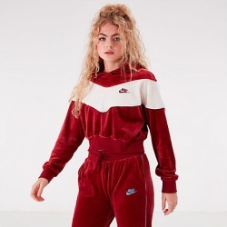 Nike Women's Sportswear Velour Heritage Pullover Hoodie in Red Size Large Polyester/Spandex/Velour