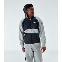 Nike Men's Sportswear Hybrid Graphic Full-Zip Hoodie in Grey Size Large Cotton/Polyester/Fleece