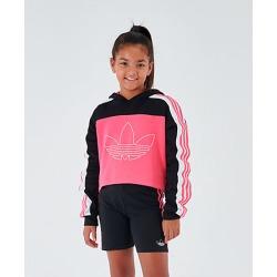 Adidas Girls' Originals Cropped Hoodie in Pink/Black Size Large Cotton