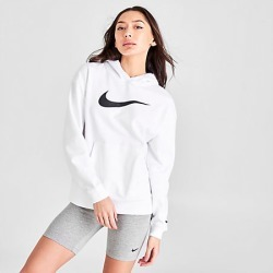 Nike Women's Sportswear Swoosh Hoodie in White Size Large Cotton