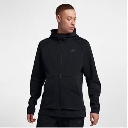 Nike Men's Sportswear Tech Fleece Full-Zip Hoodie in Black Size Large Cotton/Polyester/Fleece