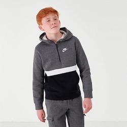 Nike Boys' Club Half-Zip Hoodie in Grey Size Large