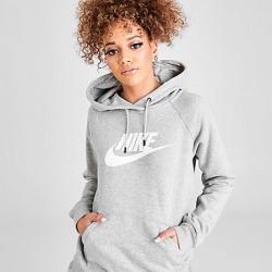 Nike Women's Sportswear Essential Hoodie in Grey Size Large Cotton/Polyester/Fleece