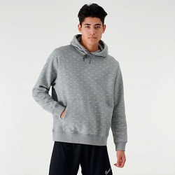 Nike Men's Sportswear Allover Print Swoosh Hoodie in Grey Size Large Cotton/Polyester