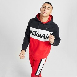 Nike Men's Air Colorblock Fleece Hoodie in Black/Red Size Large Cotton/Polyester/Fleece
