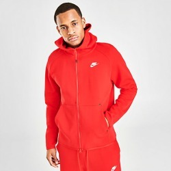 Nike Men's Sportswear Tech Fleece Full-Zip Hoodie in Red Size Large Cotton/Polyester/Fleece