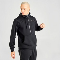 Nike Men's Sportswear Mixed Fleece Half-Zip Hoodie in Black Size Large Cotton/Polyester/Fleece