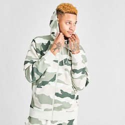 Nike Men's Sportswear Camo Club Fleece Full-Zip Hoodie in Green Size Large Cotton/Polyester/Fleece