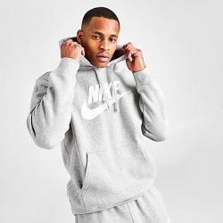Nike Men's Sportswear Club Fleece Hoodie in Grey Size Large Cotton/Polyester/Fleece
