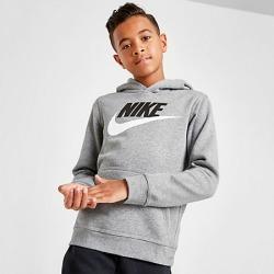 Nike Boys' Sportswear HBR Club Fleece Hoodie in Grey Size Large Cotton/Polyester/Fleece