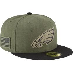New Era NFL 59Fifty Salute to Service Cap - Philadelphia Eagles - Heather Army, Size One Size