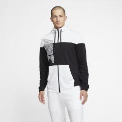Nike Dry Fleece Full-Zip Hoodie - Black / White / Black, Size One Size