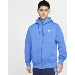Nike Club Full-Zip Hoodie - Pacific Blue / White, Size One Size
