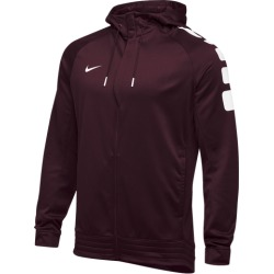 Nike Team Elite Stripe Full Zip Hoodie - Dark Maroon / White, Size One Size