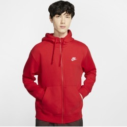 Nike Club Full-Zip Hoodie - University Red / White, Size One Size