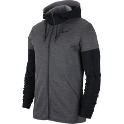 Nike Therma Fleece Plus Full Zip Hoodie Sweatshirt - Charcoal Heather / Black