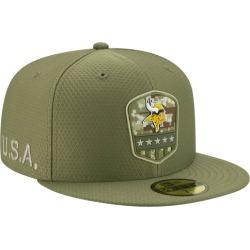 New Era NFL 59Fifty Salute to Service Cap - Minnesota Vikings - Medium Olive, Size One Size